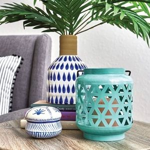 Other - Turquoise Outdoor Candle or Plant Holder
